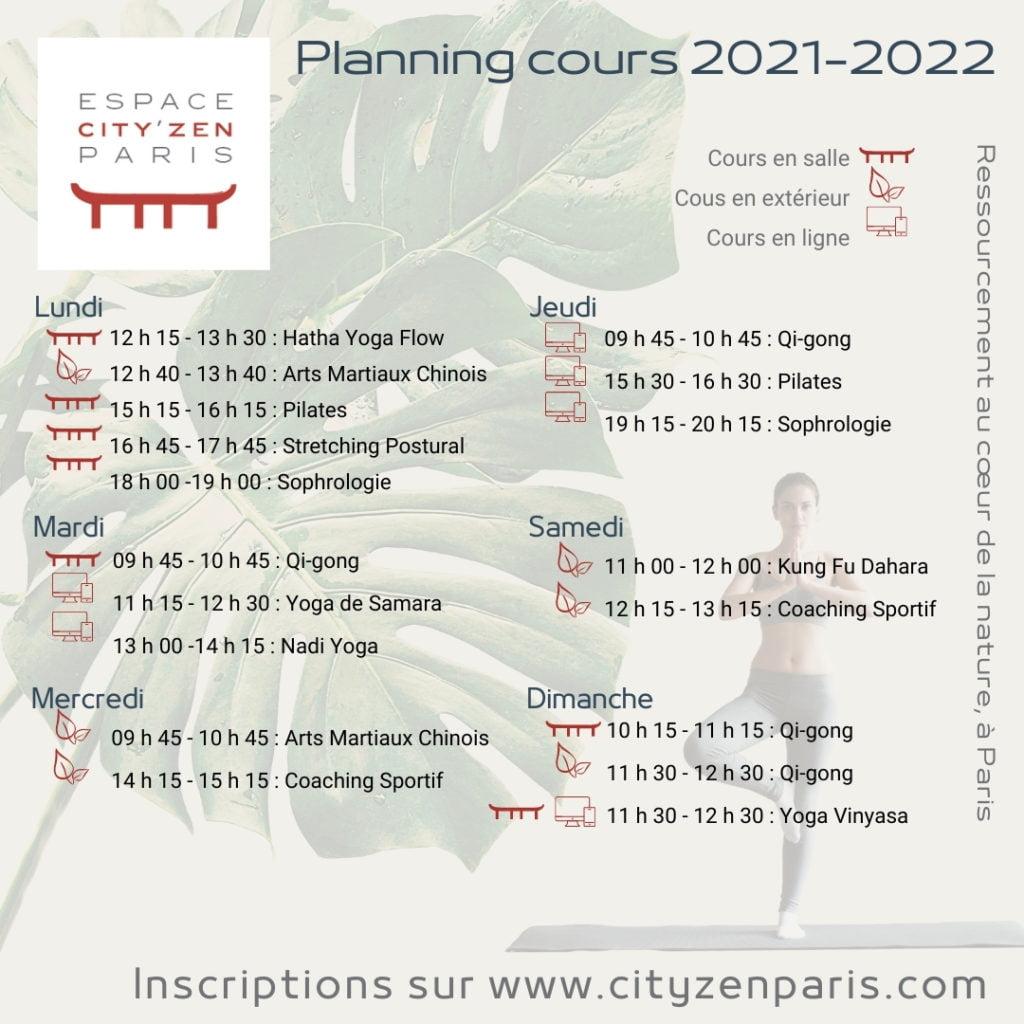 Espace City'zen Paris yoga Paris 12 Programme cours 2021-22